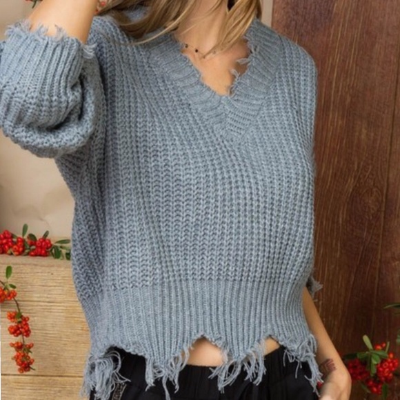 Sweaters - Gray Distressed V-Neck Slouchy Sweater